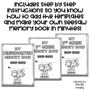 End of Year Memory Book for Kindergarten First Second Grade
