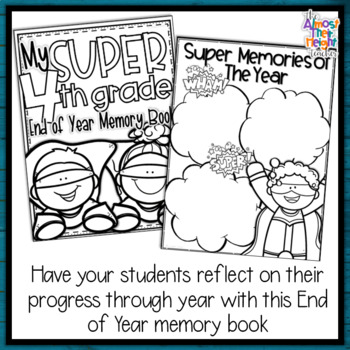 End of Year Memory Book Superhero - 4th Grade writing and craft activty