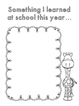 """End of Year Memory Book... """"Wild About School"""""""