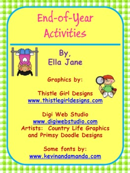 End of Year Memory Book and other activities