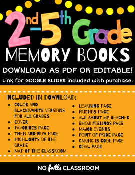 End of Year Memory Books 2nd, 3rd, 4th & 5th Grades {Editable} Color + BW