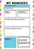 End of Year Memory & Goal Setting Activity