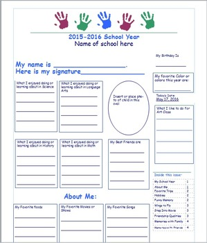 End of Year Memory Pages for Students