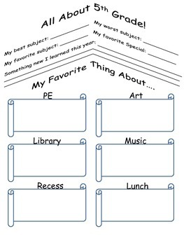 End of Year Memory Portfolio grades 3-5