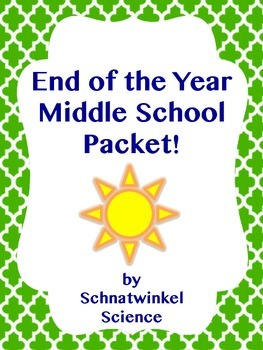End of Year Middle School Packet