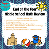 6th grade End of the Year Math Review--NO PREP