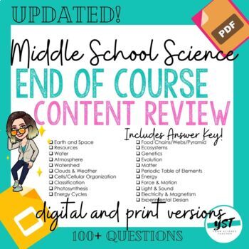 End of Year Middle School Science State Test Review - Great For ANY State