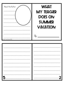End of Year Mini Book- What My Teacher does on Summer Vacation