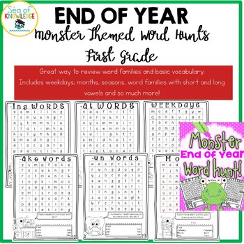 End of the Year Activities Word Hunts First Grade