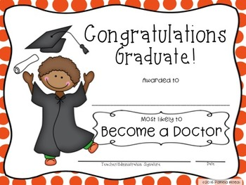 """End of Year Awards """"Most Likely To..."""" Graduation with Editable PPT"""