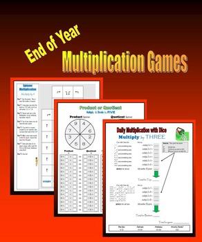 End of Year Multiplication Games (BINGO, Spinner, Dice)