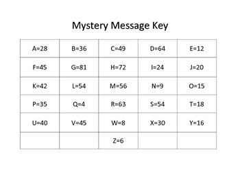 End of Year Multiplication Mystery Message