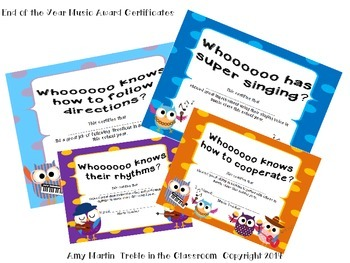 End of Year Music Class Certificates and Awards