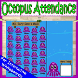 Octopus Attendance for Smartboard | Attendance Sheet Editable Attendance Chart