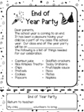 End of Year Party Note / Letter English and Spanish