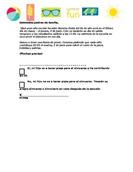 End of Year Party Permission Slip EDITABLE and *ENGLISH and SPANISH