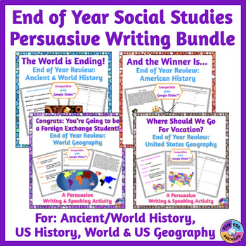 End of Year Social Studies Persuasive Writing BUNDLE