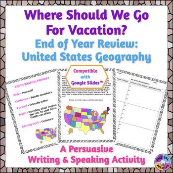 End of Year U.S. Geography Persuasive Writing Activity