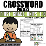 End of Year Phonics Review Crossword Puzzles - Aligned to Journeys 1st Grade