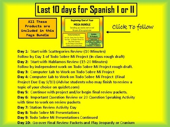 End of Year Plans for Spanish I and II - The Last 10 Days of School
