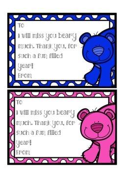 End of Year Poem Bear Theme