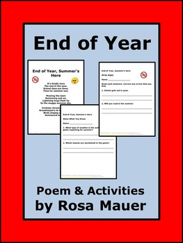 End of Year Poem and Literacy Activities