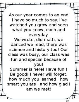 End of Year Poem (FREEBIE)