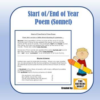 (Freebie) Start of Year/End of Year Poem