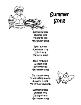 End Of Year Poem Summer Song
