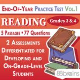 Test Prep - End of Year Practice Test: Reading Grades 3 & 4 Vol. 1