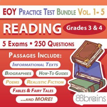 End of Year Practice Test BUNDLE: Reading Grades 3 & 4