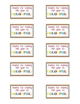 End of Year Printable Tags