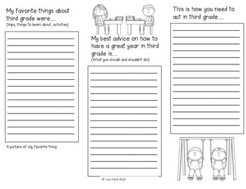 End of Year Project ~ Advice for Next Year's 3rd Grade Class Brochure