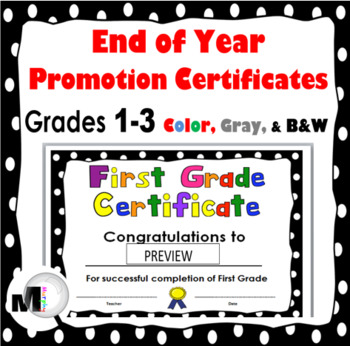 End of the Year Awards (Promotion Certificates for Grades 1, 2, 3)
