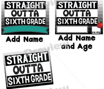 End of Year Props ~ Straight Outta Sixth Grade