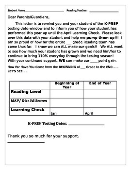 End of Year Pump It Up Letter