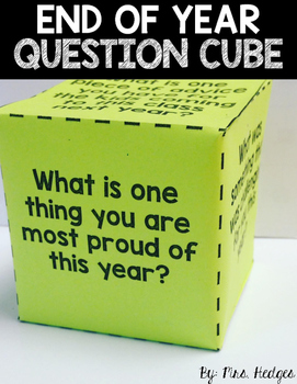 FREEBIE End of Year Question Cube