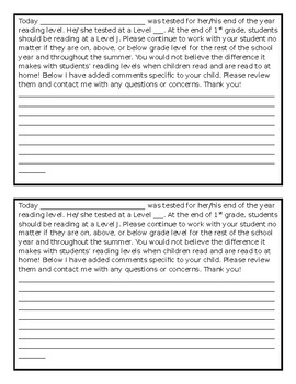 End of Year Reading Level Note to Parents