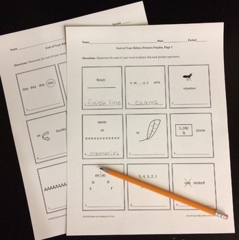 End-of-Year Rebus (Picture) Puzzle Activities