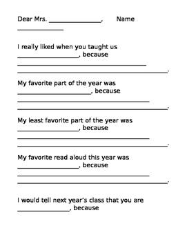 End of Year Reflection Letter