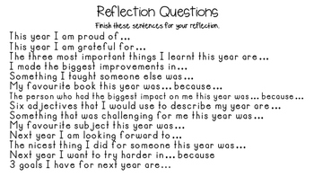Reflection Questions for Students - Great for end of year, semester or term.