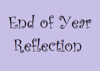 End of Year Reflection Writing