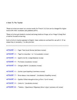 End-of-Year Review * Activities For French