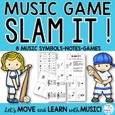 """Music Game """"Slam It!"""" Notes, Symbols, Flashcards"""