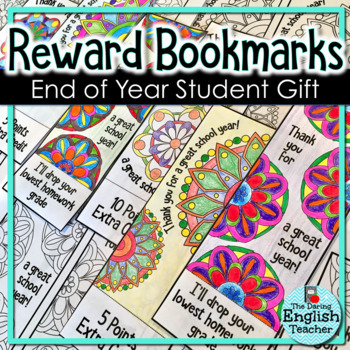 End of Year Reward Coloring Bookmarks for Secondary Students