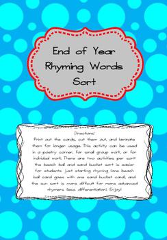 End of Year Rhyming Word Sort