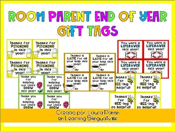 End of Year Room Parent Gift Tags