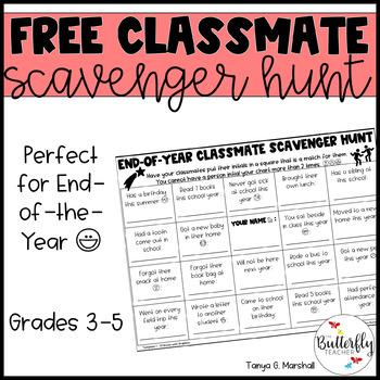 End of Year Scavenger Hunt FREEBIE