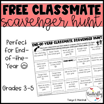 End of Year Scavenger Hunt FREEBIE