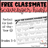 End of the Year Classmate Scavenger Hunt FREEBIE   End of